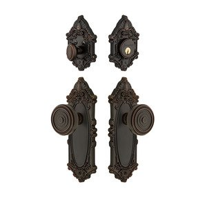 Grandeur Door - Handleset - Grande Victorian Plate With Soleil Knob & Matching Deadbolt In Timeless Bronze