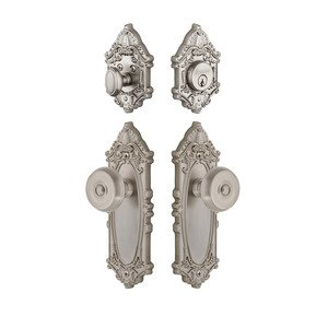 Grandeur Door Hardware Handleset - Grande Victorian Plate With Bouton Knob & Matching Deadbolt In Satin Nickel