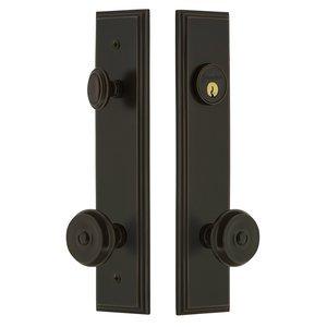 Grandeur Door Hardware Tall Plate Handleset with Bouton Knob in Timeless Bronze