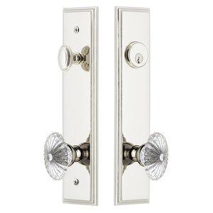 Grandeur Door Hardware Tall Plate Handleset with Burgundy Knob in Polished Nickel