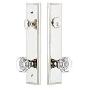 Grandeur Door Hardware Tall Plate Handleset with Chambord Knob in Polished Nickel