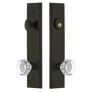 Grandeur Door Hardware Tall Plate Handleset with Chambord Knob in Timeless Bronze