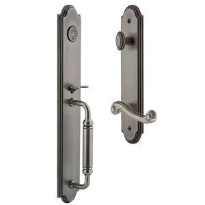 Grandeur Door Hardware Arc One-Piece Handleset with C Grip and Newport Left Handed Lever in Antique Pewter