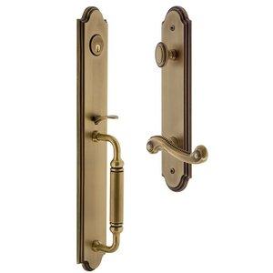 Grandeur Door Hardware One-Piece Handleset with C Grip and Newport Left Handed Lever in Vintage Brass