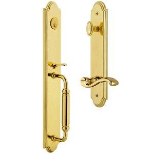 Grandeur Door Hardware One-Piece Handleset with C Grip and Portofino Left Handed Lever in Lifetime Brass