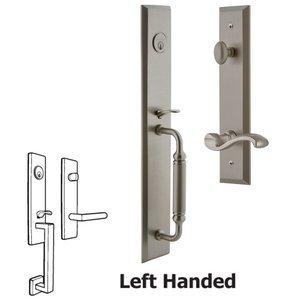 Grandeur Door Hardware One-Piece Handleset with C Grip and Portofino Left Handed Lever in Satin Nickel