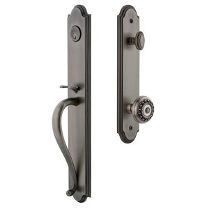Grandeur Door Hardware Arc One-Piece Handleset with S Grip and Parthenon Knob in Antique Pewter