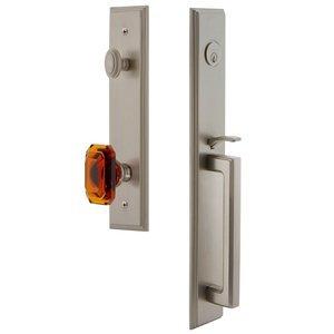 Grandeur Door Hardware One-Piece Handleset with D Grip and Baguette Amber Knob in Satin Nickel