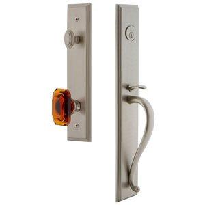 Grandeur Door Hardware One-Piece Handleset with S Grip and Baguette Amber Knob in Satin Nickel