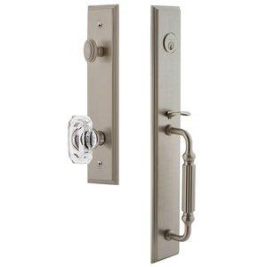 Grandeur Door Hardware One-Piece Handleset with F Grip and Baguette Clear Crystal Knob in Satin Nickel