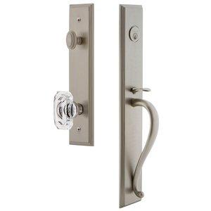 Grandeur Door Hardware One-Piece Handleset with S Grip and Baguette Clear Crystal Knob in Satin Nickel