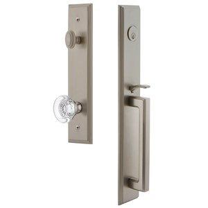 Grandeur Door Hardware One-Piece Handleset with D Grip and Bordeaux Knob in Satin Nickel