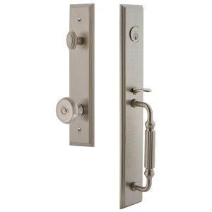 Grandeur Door Hardware One-Piece Handleset with F Grip and Bouton Knob in Satin Nickel