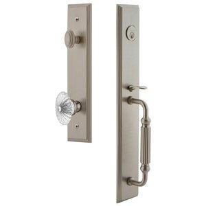 Grandeur Door Hardware One-Piece Handleset with F Grip and Burgundy Knob in Satin Nickel