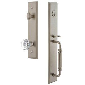 Grandeur Door Hardware One-Piece Handleset with F Grip and Chambord Knob in Satin Nickel