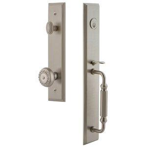 Grandeur Door Hardware One-Piece Handleset with F Grip and Parthenon Knob in Satin Nickel