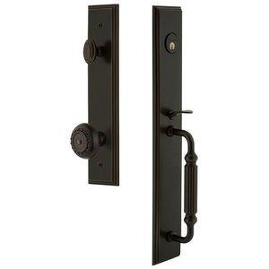 Grandeur Door Hardware One-Piece Handleset with F Grip and Parthenon Knob in Timeless Bronze