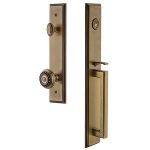 Grandeur Door Hardware One-Piece Handleset with D Grip and Parthenon Knob in Vintage Brass