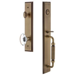 Grandeur Door Hardware One-Piece Handleset with F Grip and Provence Knob in Vintage Brass