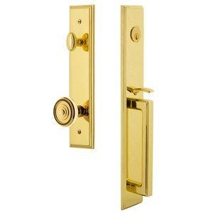 Grandeur Door Hardware One-Piece Handleset with D Grip and Soleil Knob in Lifetime Brass