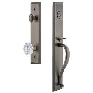 Grandeur Door Hardware One-Piece Handleset with S Grip and Versailles Knob in Antique Pewter