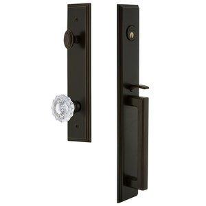 Grandeur Door Hardware One-Piece Handleset with D Grip and Versailles Knob in Timeless Bronze