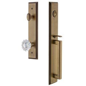 Grandeur Door Hardware One-Piece Handleset with D Grip and Versailles Knob in Vintage Brass