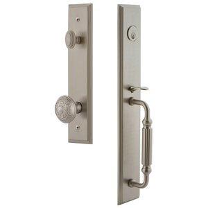 Grandeur Door Hardware One-Piece Handleset with F Grip and Windsor Knob in Satin Nickel