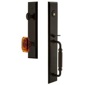 Grandeur Door Hardware One-Piece Handleset with F Grip and Baguette Amber Knob in Timeless Bronze