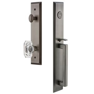 Grandeur Door Hardware One-Piece Handleset with D Grip and Baguette Clear Crystal Knob in Antique Pewter