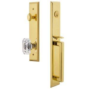 Grandeur Door Hardware One-Piece Handleset with D Grip and Baguette Clear Crystal Knob in Lifetime Brass