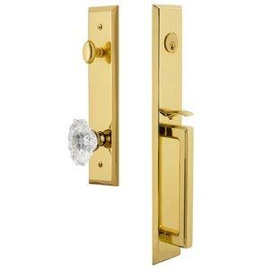 Grandeur Door Hardware One-Piece Handleset with D Grip and Biarritz Knob in Lifetime Brass