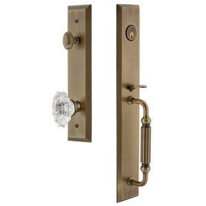 Grandeur Door Hardware One-Piece Handleset with F Grip and Biarritz Knob in Vintage Brass