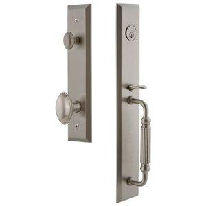 Grandeur Door Hardware One-Piece Handleset with F Grip and Eden Prairie Knob in Satin Nickel