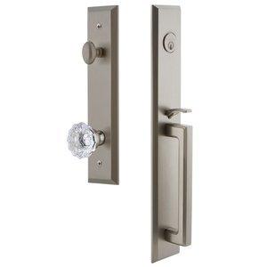 Grandeur Door Hardware One-Piece Handleset with D Grip and Fontainebleau Knob in Satin Nickel
