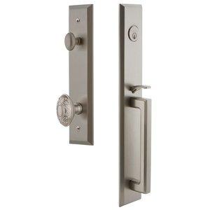 Grandeur Door Hardware One-Piece Handleset with D Grip and Grande Victorian Knob in Satin Nickel