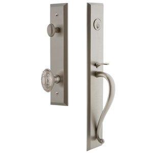 Grandeur Door Hardware One-Piece Handleset with S Grip and Grande Victorian Knob in Satin Nickel