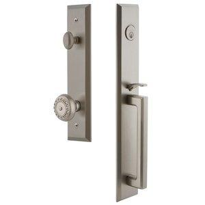 Grandeur Door Hardware One-Piece Handleset with D Grip and Parthenon Knob in Satin Nickel