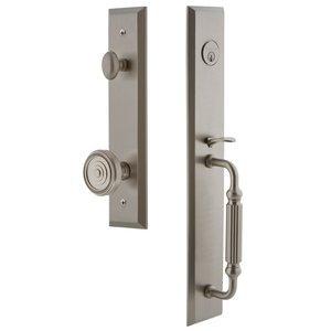 Grandeur Door Hardware One-Piece Handleset with F Grip and Soleil Knob in Satin Nickel