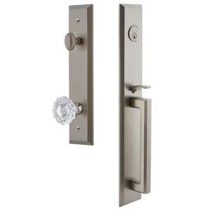 Grandeur Door Hardware One-Piece Handleset with D Grip and Versailles Knob in Satin Nickel