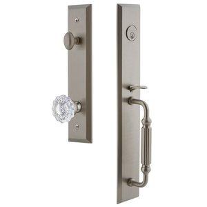 Grandeur Door Hardware One-Piece Handleset with F Grip and Versailles Knob in Satin Nickel