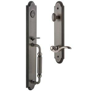 Grandeur Door Hardware Arc One-Piece Handleset with F Grip and Bellagio Left Handed Lever in Antique Pewter