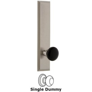 Grandeur - Single Dummy - Carre Rosette with Black Coventry Porcelain Knob in Satin Nickel