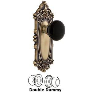 Grandeur Door Hardware Double Dummy - Grande Victorian Rosette with Black Coventry Porcelain Knob in Vintage Brass
