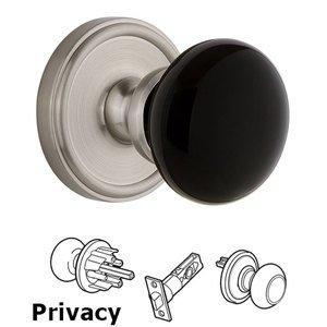 Grandeur Door Hardware Privacy - Georgetown Rosette with Black Coventry Porcelain Knob in Satin Nickel