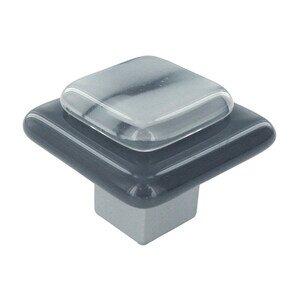 """Grace White Glass Hardware 1 1/2"""" Fog on Gray Knob"""