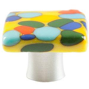 "Grace White Glass Hardware 1 1/4"" JellyBeans Knob"