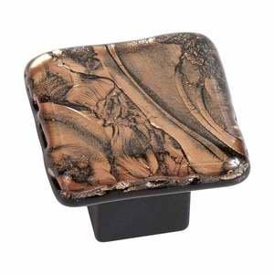 "Grace White Glass Hardware 1 1/4"" Bronze Frost Knob"