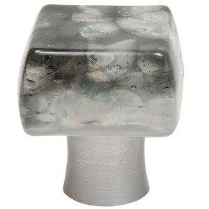 "Grace White Glass Hardware 1 1/4"" SmokyRain Knob"