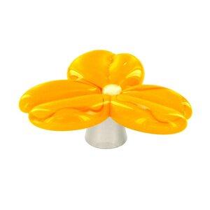 Grace White Glass Hardware Trillium Orange Knob
